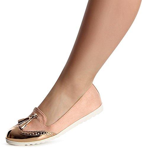 topschuhe24 1107 Damen Slipper Loafer Ballerina Espadrilles Rosa