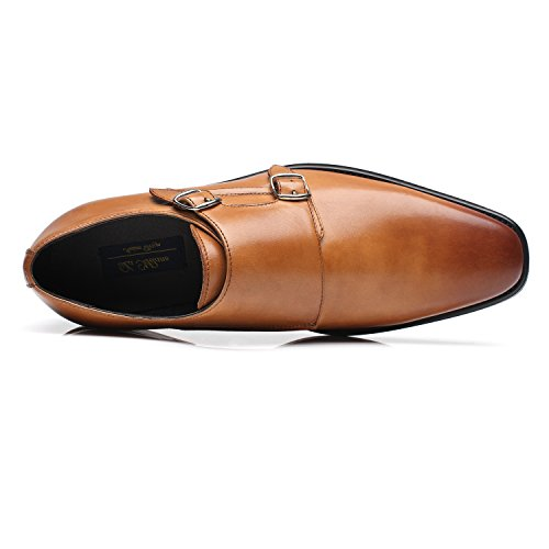 La Milano Mens Double Monk Strap Slip On Loafer Leather Oxford Formal Business Casual Comfortable Dress Shoes for Men by La Milano (Image #3)