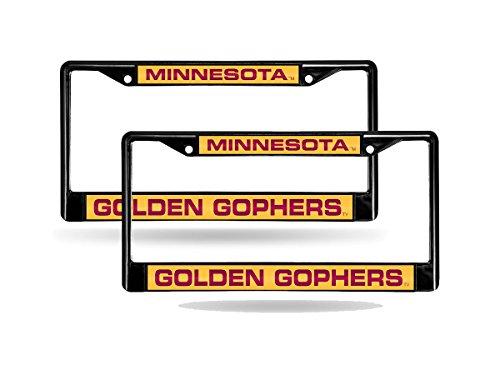 Rico Minnesota Golden Gophers NCAA Black Metal (2) Laser License Plate Frame Set ()