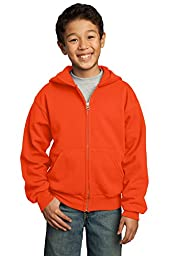 Port & Company Youth Full-Zip Hooded Sweatshirt, X-Small, Orange