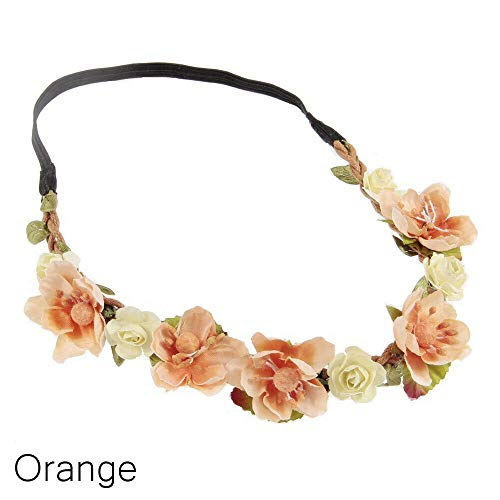 Enameled Choker - MOPOLIS Flower Garland Crown Headband Baby Hairband Floral Leaves Photography Props | Color - Orange