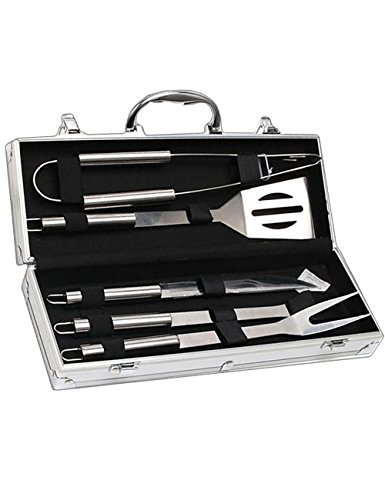 Trailer Silver Giant Bbq (Menschwear BBQ Tool Sets Heavy Duty Stainless Steel Barbecue Accessories Aluminum Case Grill Tools Set (5-Piece))