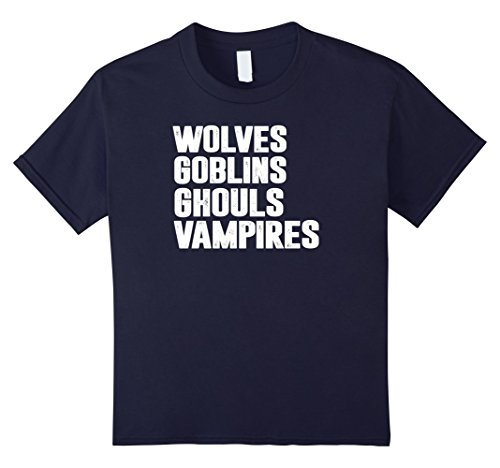 Kids Funny 2017 Halloween Wolves Goblins Ghouls Vampires T-shirt 12 (Ghouls And Goblins Halloween)