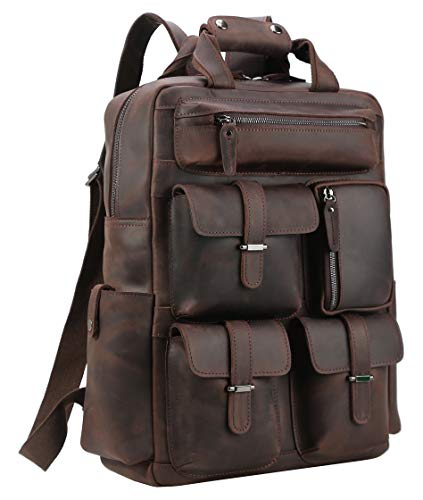 Polare Cowhide Leather Multiple Laptop Backpack Day Pack Travel Bag Stachel with 1 Year Warranty ()