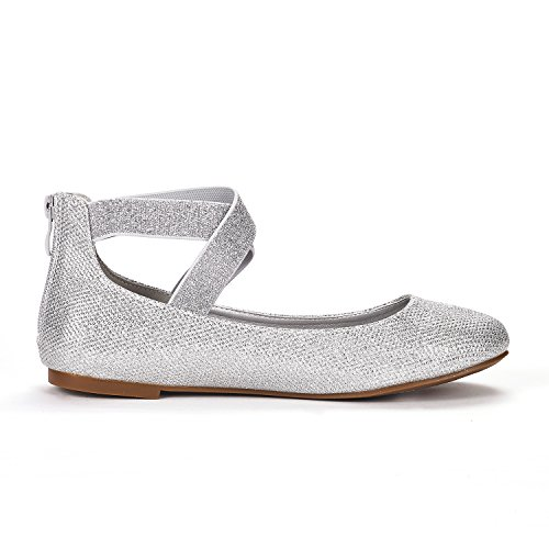 DREAM PAIRS Womens Sole_Stretchy Fashion Elastic Ankle Straps Flats Shoes Silver Glitter f7swro0GA