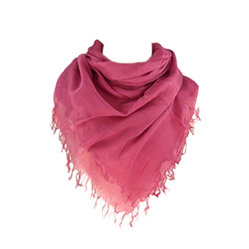 Premium Soft Pure Cotton Solid Color Square Scarf, Fuchsia