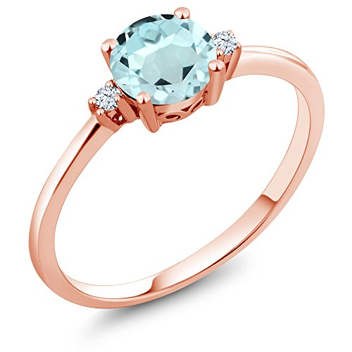 Gem Stone King 10K Rose Gold Engagement Solitaire Ring set with 0.93 Ct Round Sky Blue Topaz White Created Sapphire (Size 6)