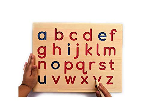 (Montessori LOWERCASE Alphabet | ABC Letters Tracing Board with Wooden Pen by Cosmo-Crafts)