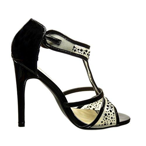 aiguille Angkorly femme ouverte stiletto strass diamant Chaussure haut résille Escarpin Noir CM Mode Talon salomés 11 qxwyrqX17Y