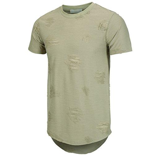 KLIEGOU Mens Hipster Hip Hop Ripped Round Hemline hole T Shirt(1705) (Large, Army green)