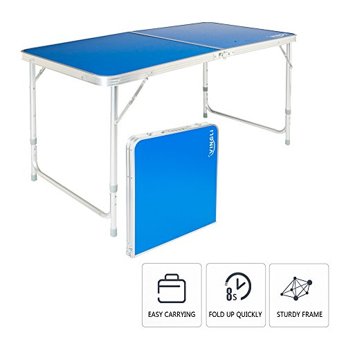 VINGLI Aluminum Folding Picnic Table with 3 Adjustable Height,47.2''L x 23.6''W for Camping Party Dining BBQ,Commercial Suitcase Portable Desk with Carry Handle,Indoor Outdoor w/Carrying (Foldable Wooden Picnic Table)