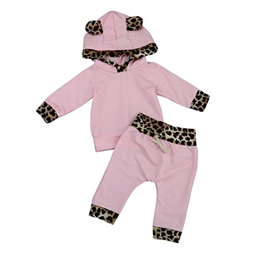 TIFENNY Baby Kids Long Sleeve Floral Print Tracksuit Top+Pants Sets (18M, Pink-A)