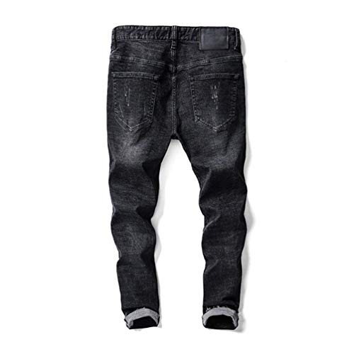 Pantaloni Da Casual Fit Denim Neri Strappati Nero Jeans Slim Retrò Distrutti Uomo Stretch Autunnali T6aFqR