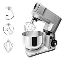 Posame Stand Mixer 500W 5-Qt 6-Speed Tilt-Head Stoving Varnish Kitchen Mixer with C-shaped Dough Hook, Y-Shape Flate Beater, Stainless Stell Wire Wipe Accessories (Silver Color)