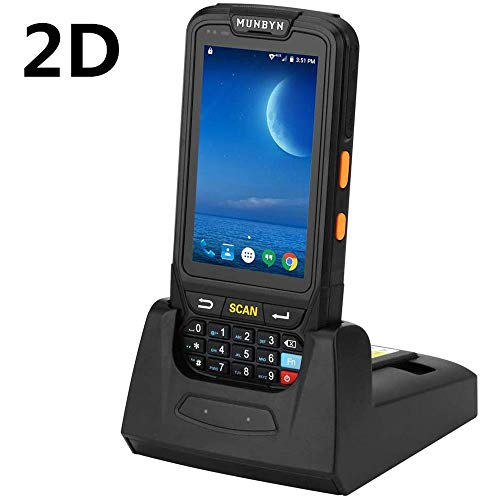 MUNBYN Handheld Barcode Scanner with Android 7.0 OS, 2D PDF417 Honeywell Scanner, Numeric keypad, Touch Screen and Charging Cradle with 3G 4G WiFi BT GPS Wireless Mobile Terminal for Inventory System