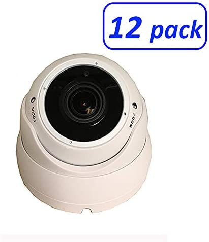 1080P 4in1 HD-TVI, HD-AHD, HD-CVI, CVBS Standard Analog STARVIS Image Sensor 2.8-12mm Varifocal Lens Dome Camera 12 Pack, White