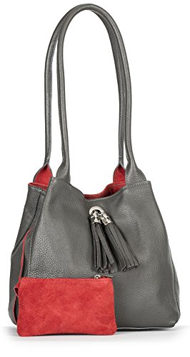 Size ELLA in Suede amp; Dark Grey Womens Real Two Leather Red Slouch LIATALIA Medium with Shoulder Reversible Bag One xq6wvBB8