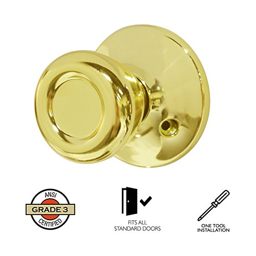 Dummy Interior Door Knob Set Tulip Shape Handles Decorative Inactive Trim Knob for Right or Left Handed Door, Polished Brass, 2 Pack by Home Improvement Direct (Image #2)