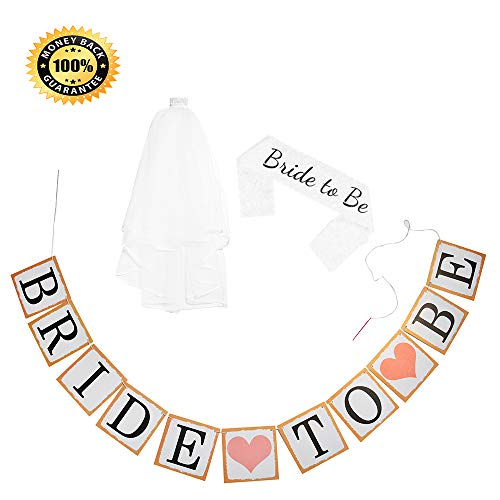 Bachelorette Party, Bride Party White Lace Sash Bridal Veil with Comb Tiara Bride to Be Banner with Ribbon by Bridal Shower -