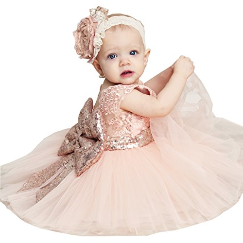 Newborn Toddler Baby Girls Sequins Bowknot Floral Princess Dresses (0-6 Months, Pink)