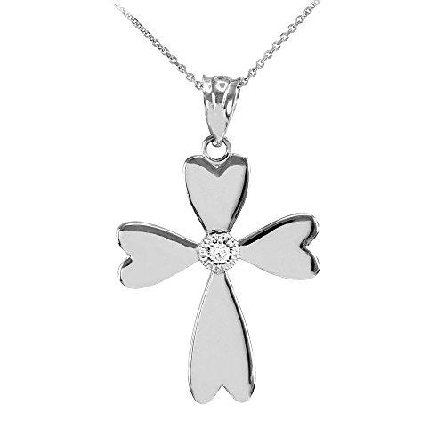 Collier Femme Pendentif 14 Ct Or Blanc Solitaire Diamant Cœur Croix (Livré avec une 45cm Chaîne)