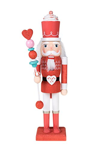 Clever Creations Candy King Nutcracker Red Sparkle and White Uniform | Cupcake Crown and Candy Scepter | Collectible Wooden Christmas Nutcracker | Festive Holiday Decor | 100% Wood | 15