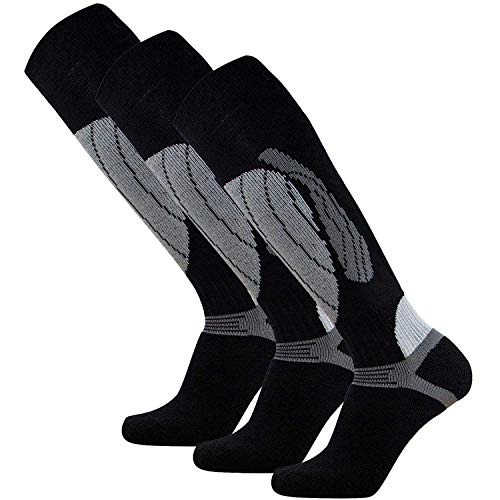 Pure Athlete Elite Wool Race Ski Socks - Warm Comfortable Snowboard/Skiing Socks (Black/Silver - 3 Pack, L/XL)