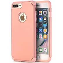 CaseHQ iPhone 7 plus Case,iPhone 8 plus Case,slim Dual Layer Silicone Rubber PC Protective Case Fit for iPhone 7 plus,iPhone 8 plus(5.5 screen) Hybrid Hard Back Cover,Soft Silicone-Rose Gold gray