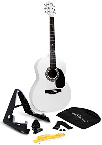 Martin Smith W-101-WHT-PK Acoustic Guitar Super Kit with Stand, Natural, White