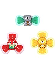 3Pcs Fidget Finger Hand Spinner, Cartoon Animals Suction Cup Spinning Top Toy Baby Toys, Safe Baby Roatation Teether Toy for Children Kids Girls Boys Stress Relief Anti Anxiety Gifts