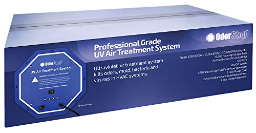 OdorStop UV Air Treatment System (OS36PRO w/Air Flow Sensor) - 36 Watt System with Energy Saving Airflow Sensor That Utilizes UV Light to Kill Odors, Mold, Bacteria and Viruses in -