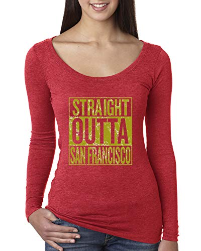 Wild Bobby Straight Outta San Francisco SF Fan | Fantasy Football | Womens Sports Scoop Long Sleeve Top, Vintage Red, Small