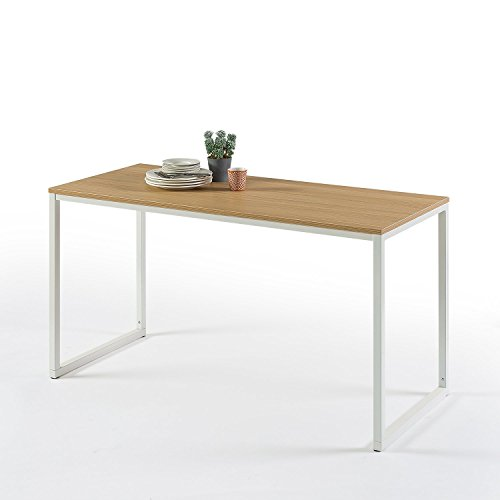 Zinus Jennifer Modern Studio Collection Soho Rectangular Dining Table / Table Only / Office Desk / Computer Table, White 3 Piece Glass Desk