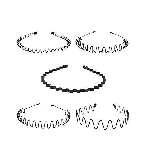 Symphony Wave Headband, 5Pcs Black Metal Hair Band Head Band Accessories For Men Women ()