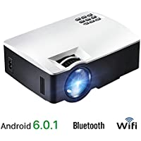 AKEY1 Plus, 1800 Lumens LED Android 6 Projector, With WIFI Bluetooth. Video Projector for Home Theater, Support 4K Virdeo, Full HD 1080P, HDMI VGA USD AV Prot.