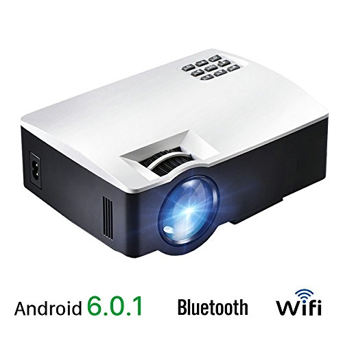 AKEY1 Plus, LED Android 6 Projector, With WIFI Bluetooth. Video Projector for Home Theater, Support 4K Video, Full HD 1080P, HDMI VGA USB AV Port