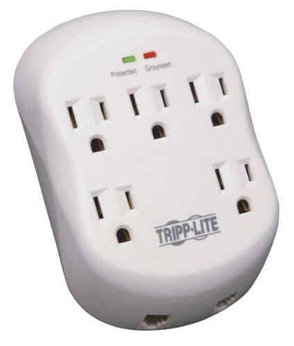Tripp Lite 5 Outlet Surge Protector Power Strip, Direct Plug In, RJ11 Protection, & $15,000 INSURANCE (SK5TEL-0) - Lite Line Notepad