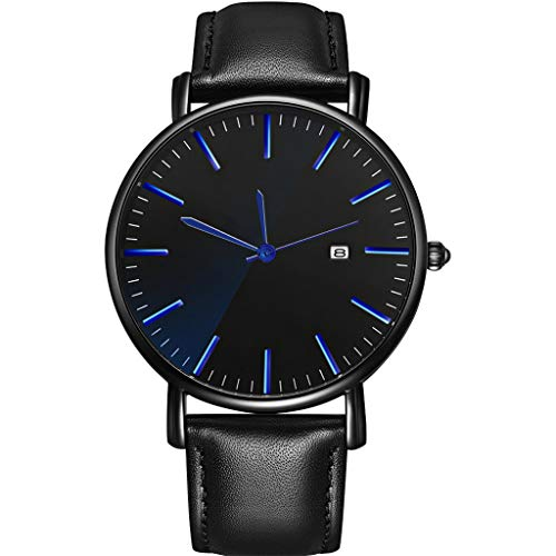 HAALIFE◕‿ Mens Watch Calfskin Leather Strap - Dress + Casual Design - Analog Watch Dial with Date, Watches for Men Collection Black