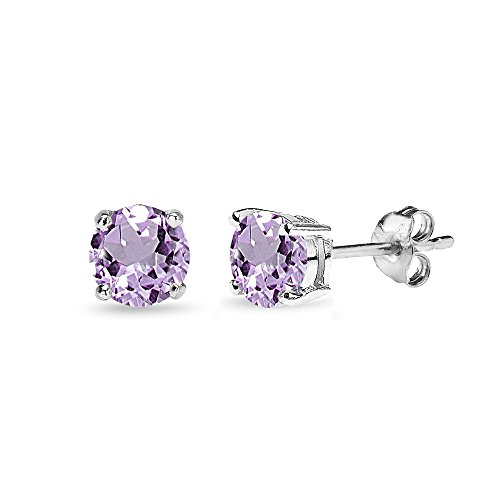 (Sterling Silver Amethyst 5mm Round-Cut Solitaire Stud Earrings)