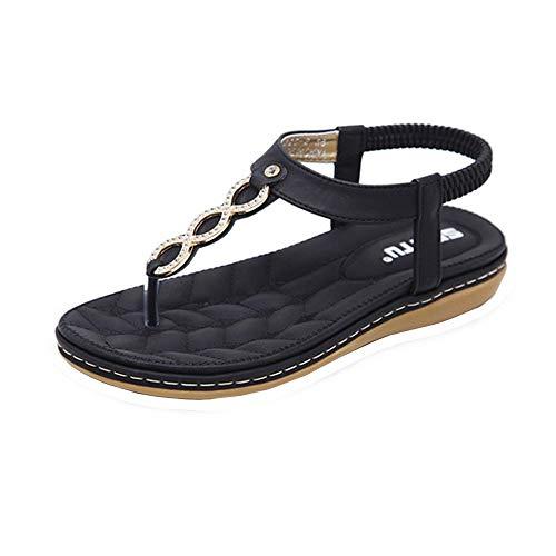 - Women Flat Sandals Criss-Cross Open Toe Wide Elastic Strap Fashion Summer Shoes Black