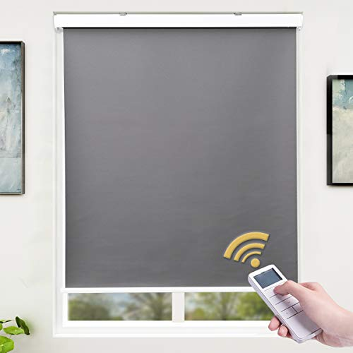 SUNFREE Motorized Roller Shades 100% Blackout Roller Shades Wireless Rechargeable Shades Remote Control Window Shades for Home and Office, Grey 36(W) x72(H) Inch