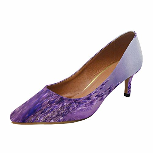 InterestPrint Women's Low Kitten Heel Pointed Toe Dress Pump Shoes Lavender Flowers 8 B(M) (Canvas Pump Heels)