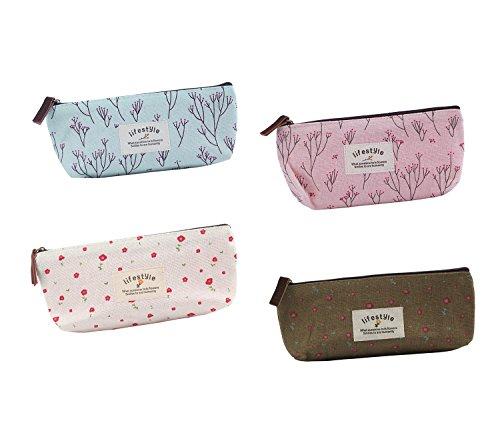 Generic Floral Canvas Different Colors Cute Girls Pen Bag Pencil Case Cosmetic Makeup Bag Pouch Pocket Case Pack...