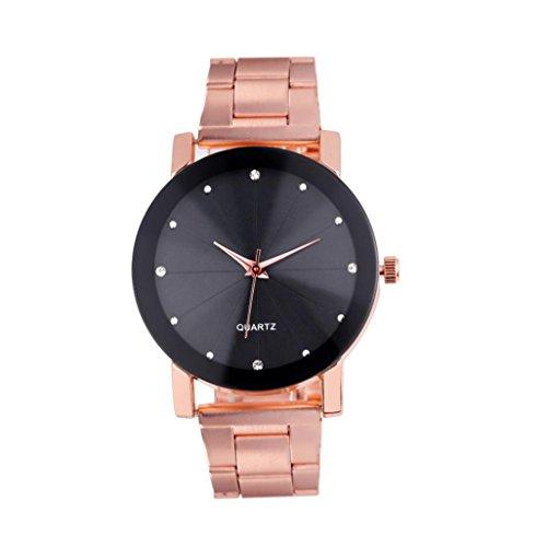 Hunputa Luxury Quartz Fashion Stainless Steel Dial Stainless Band Wrist Watch (Rose Gold)