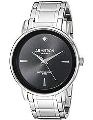 Armitron Mens 20/5263BKSV Diamond-Accented Silver-Tone Bracelet Watch