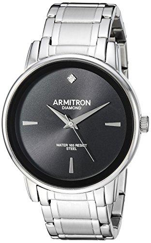 Armitron Men's 20/5263BKSV Diamond-Accented Silver-Tone Bracelet Watch