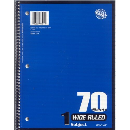 70 Sheet Notebook (Wide Ruled 1 Subject 70 Page Sheet Spiral Notebook Paper 24 (Case) Pack Various Colors by Norcom)