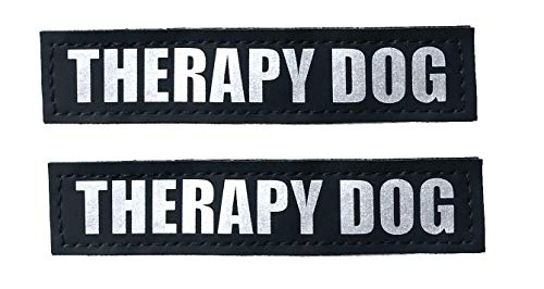 ALBCORP Reflective Therapy Dog Patches with Hook Backing for Service Animal Vests/Harnesses XXS or Extra Small (3.5 X 1) Inch