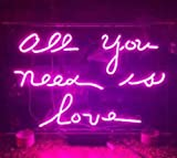 Desung 17'' ALL YOU NEED IS LOVE Purple Custom Design Decorated Acrylic Panel Handmade Man Cave Neon Sign Light UT12