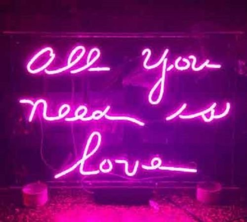 Desung 20'' ALL YOU NEED IS LOVE Purple Custom Design Decorated Acrylic Panel Handmade Man Cave Neon Sign Light UT12 by DESUNG